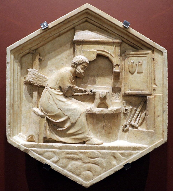 Andrea pisano, tubalcain ovvero la metallurgia, 1334-43, dal lato ovest del campanile 01