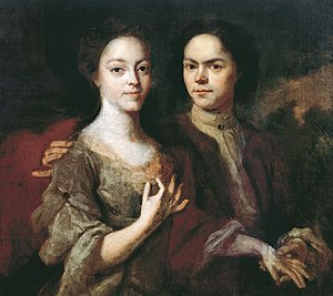 Andrey Matveyev (painter) - Self-portrait with Wife (1729)