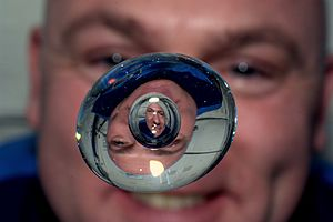 André Kuipers - Kuipers experimenting with a water drop in weightlessness in 2012
