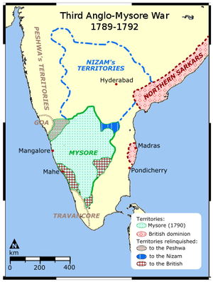 Third Anglo-Mysore War - A map of the war theatre
