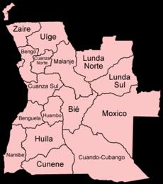 Angola provinces named