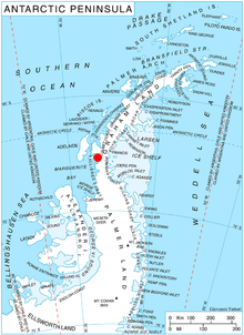 Location of German Peninsula in Graham Land, Antarctic Peninsula. Ant-pen-map-German.PNG
