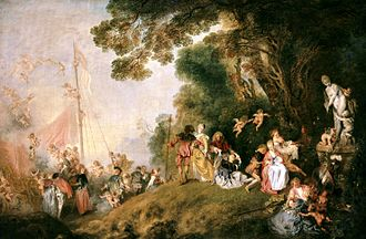 The Embarkation for Cythera - Pilgrimage to Cythera is an embellished repetition of Watteau's earlier painting, and demonstrates the frivolity and sensuousness of Rococo painting. (c. 1718-19, Berlin)
