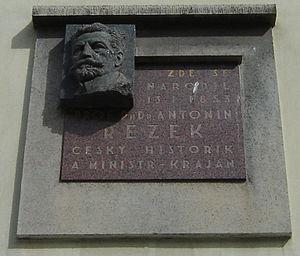 Antonín Rezek - Memorial plate in Jindřichův Hradec.