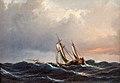Anton Melbye - Et skib i høj sø ved solnedgang - 1847.jpg