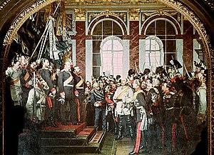 Proclamation of the German Empire (painting) - Image: Anton von Werner Kaiserproklamation, zweite Fassung 1882 1