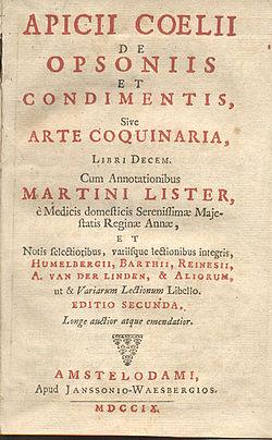 Página del título de una edición holandesa del siglo XVIII de Apicio, incluyendo también el título alternativo Arte Coquinaria.