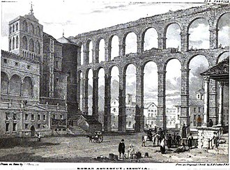 Aqueduct of Segovia - Segovia Aqueduct in 1824 by Edward Hawke Locker