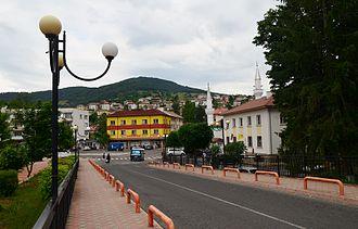Ardino - Main square in Ardino seen from the bridge.
