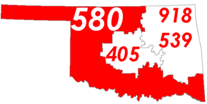 Map of Oklahoma with area code 580 in Red
