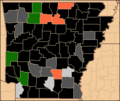 Arkansas Green Presidential Primary Election Results by County, 2008.png