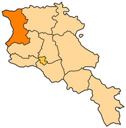 Map of Shirak in Armenia