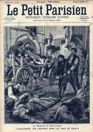 "Press coverage during the Armenian Genocide - Armenian Massacre in Constantinople. The gathering of the corpses of victims, street of Galata in the French magazine ""Le Petit Parisien"", September 13, 1896"