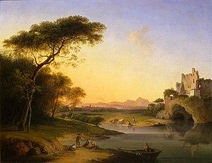 Marco Gozzi - Paesaggio con figure in riva al fiume Adda, 1810 ca. (Art collections of Fondazione Cariplo)