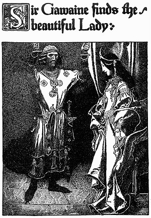 Gawain - Sir Gawaine finds the beautiful Lady, by Howard Pyle from The Story of King Arthur and His Knights (1903)