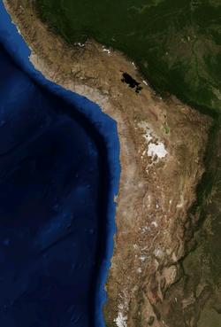 Imagem de satélite do deserto do Atacama.