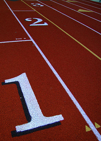 All-weather running track - Starting lines on an all-weather track
