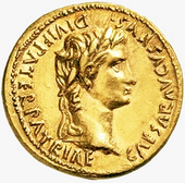 Aureus of Augustus, the first Roman Emperor. of Roman Empire