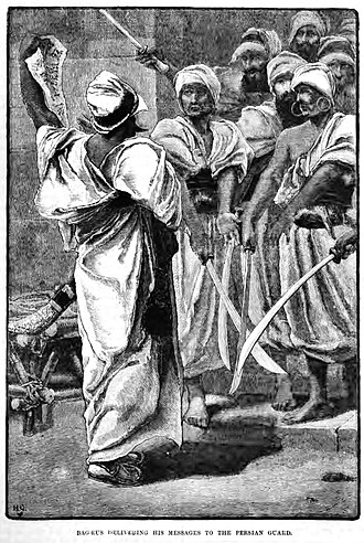 Bagaeus - Bagaeus delivering his messages to the Persian guards. 19th century illustration.