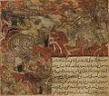 Balami - Tarikhnama - Khusraw Parviz kills three Turks in a battle with Bahram Chubin (cropped).jpg