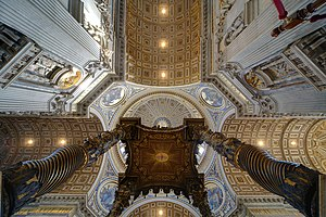 St. Peter's Baldachin - The view from beneath the baldachin, showing the Holy Spirit within a radiant sunburst.