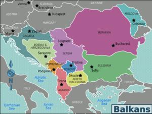 Macedonian border barrier - Image: Balkans regions map