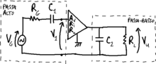 Band-pass amplifier with RC cells.png