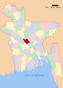 Location of Manikganj in Bangladesh
