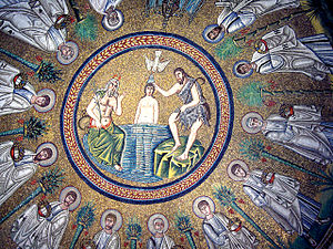 Dome depicting the baptism of Jesus by Saint John the Baptist, and a pagan god in the guise of an old man stands to one side holding a leather bag; Arian baptistry, Ravenna, Italy.