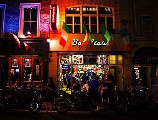 Bar Italia Italian café located in Frith Street in Soho, in the centre of London