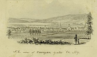 Penn Yan, New York - N.E. view of PENNYAN, Yates Co., N.Y. (circa 1856-1860) by John Warner Barber