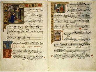 Mensural notation - Early 16th-century manuscript in mensural notation, containing a Kyrie by J. Barbireau.