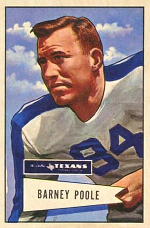 Barney Poole - Poole on a 1952 Bowman football card