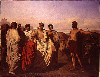 Félix-Joseph Barrias - Cincinnatus receiving the deputies of the Senate (1844)