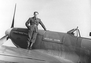 "No. 611 Squadron RAF - Flight Lieutenant Barrie Heath of 611 Squadron, photographed in 1940 on the wing of Spitfire IIa P7883 ""Grahame Heath""."
