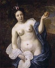 Portrait of a woman as Venus with Paris' apple