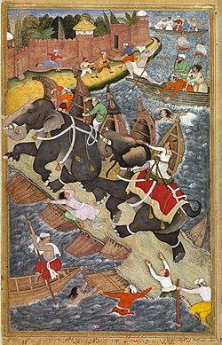 Basawan. Akbar Taming Mad Elephant Hawai. Composition by Basawan, coloring by Chitra. (left part) Akbarnama, ca. 1590, Victoria and Albert Museum, London.jpg