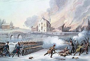 John Colborne, 1st Baron Seaton - Colborne's troops scatter the insurgents and torch the church at the Battle of Saint-Eustache
