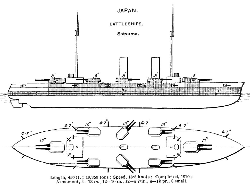 Battleship Satsuma diagrams Brasseys 1923