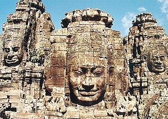 Cambodia - Faces of Bodhisattva Avalokiteshvara at Prasat Bayon.