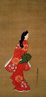 Pentraĵo de fajne vestita japana virino en 16-ajarcenta stilo.