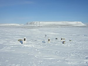 Clements Markham - A modern photograph of the graves discovered at Beechey Island in 1850