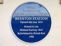 Photo of Beeston railway station and Charles B. Vignoles blue plaque