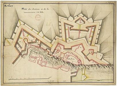 Belfort, Plan du chasteau et de sa communication à la Ville, 1790