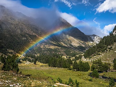 Rainbow over the Llanos del Hospital plains, Benasque. Huesca, Aragon, Spain