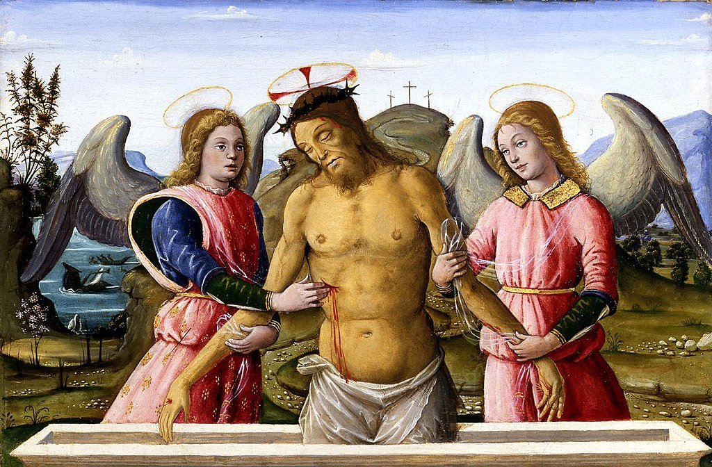 Bernardino Fungai - The dead Christ supported by two Angels