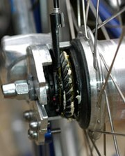 Bevel ring gear on the rear wheel of a shaft-driven bicycle
