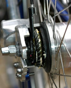 Bevel gear - Bevel ring gear on the rear wheel of a shaft-driven bicycle