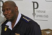 Bheki Cele at press conference on crime at World Cup 2010-06-29 1.jpg