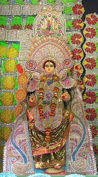 Bhuvaneshvari - Bhuvaneshvari worshipped with other Mahavidyas in a Kali Puja pandal in Kolkata.